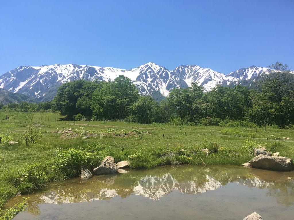 白馬の山と池