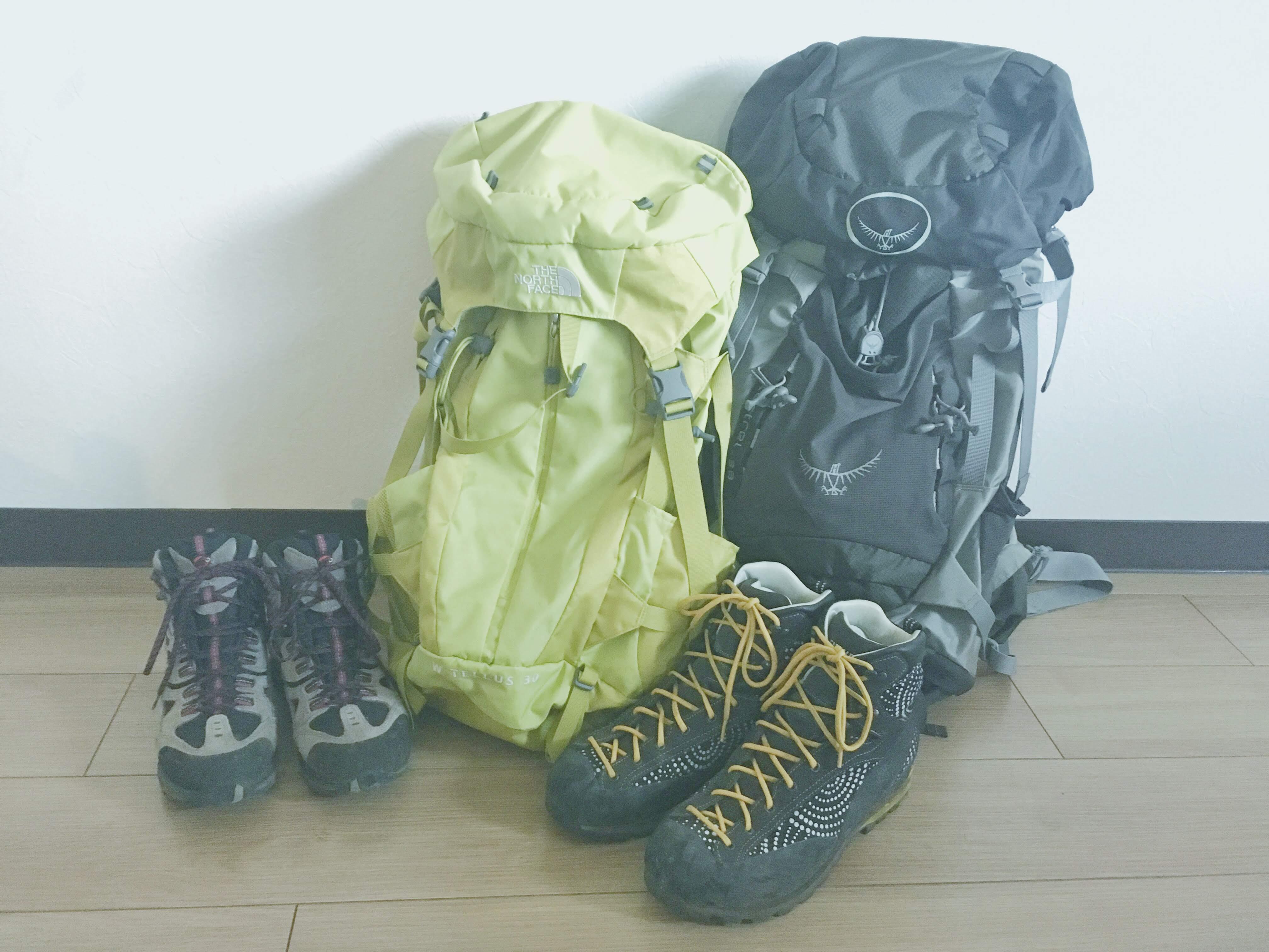 登山用ザックと靴