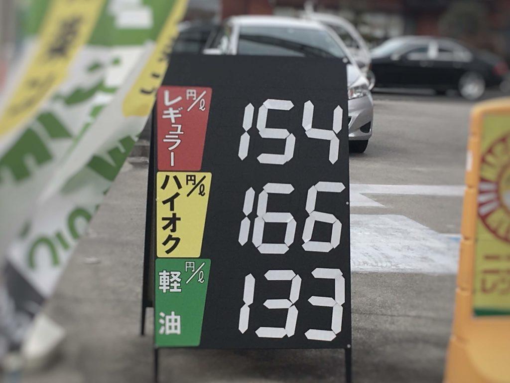 ガソリンスタンド価格看板